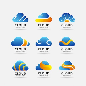 Coleção de logotipo de nuvem