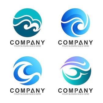 Coleção de logotipo de onda em forma de círculo