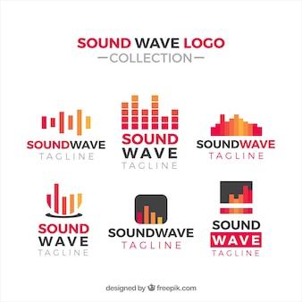 Coleção de logotipo de onda sonora com design plano