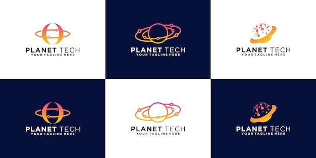 Coleção de logotipo de órbita de planeta de tecnologia