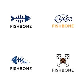Coleção de logotipo de osso de peixe