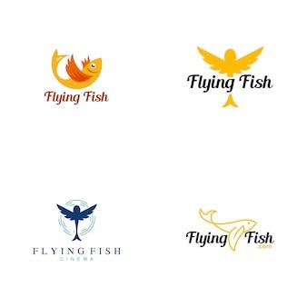Coleção de logotipo de peixe voador