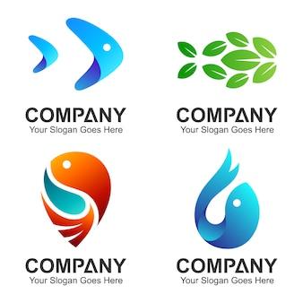 Coleção de logotipo de peixe