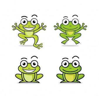Coleção de logotipo de personagem de desenho animado sapo