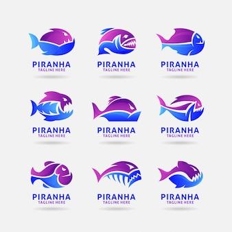 Coleção de logotipo de piranha