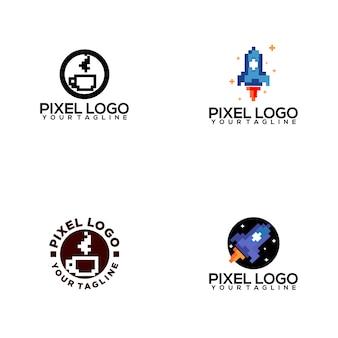 Coleção de logotipo de pixel