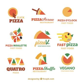 Coleção de logotipo de pizza de design plano