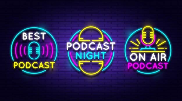 Coleção de logotipo de podcast neon