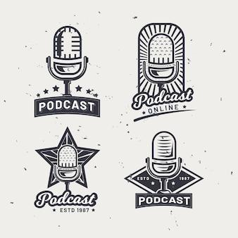 Coleção de logotipo de podcast vintage