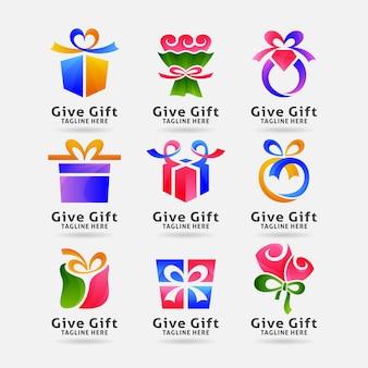 Coleção de logotipo de presente