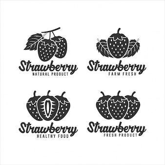 Coleção de logotipo de produto natural de morango