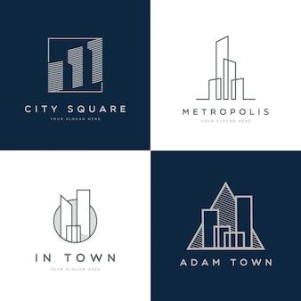 Coleção de logotipo de propriedade simples moderna
