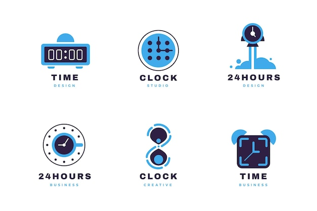 Coleção de logotipo de relógio plano