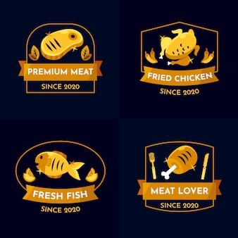 Coleção de logotipo de restaurante retrô dourado