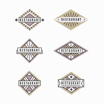 Coleção de logotipo de restaurante retrô minimalista