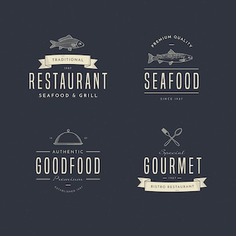 Coleção de logotipo de restaurante retrô