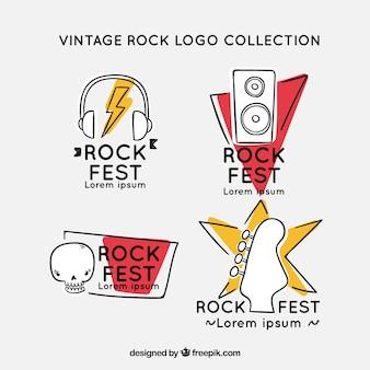 Coleção de logotipo de rocha desenhada mão com estilo vintage