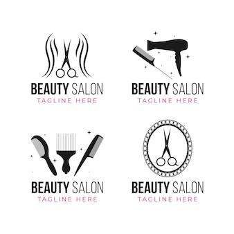 Coleção de logotipo de salão de beleza desenhada à mão plana