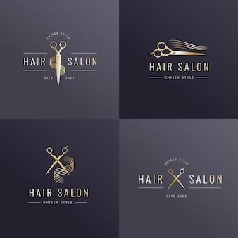 Coleção de logotipo de salão de cabeleireiro de luxo