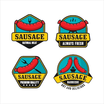 Coleção de logotipo de salsicha com carne natural