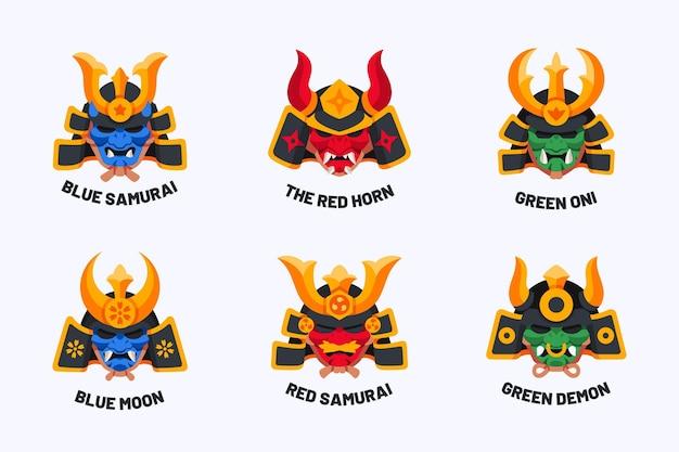 Coleção de logotipo de samurai plano