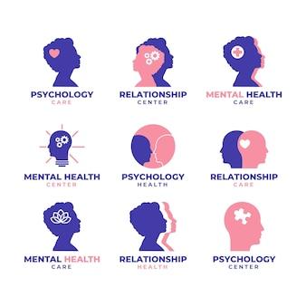 Coleção de logotipo de saúde mental de design plano azul e rosa