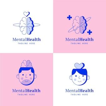 Coleção de logotipo de saúde mental