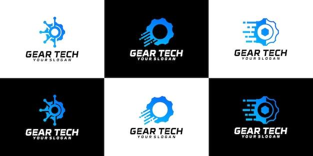 Coleção de logotipo de serviço de tecnologia de engrenagem
