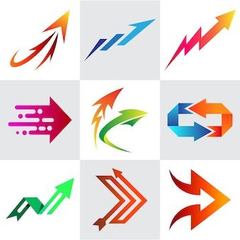 Coleção de logotipo de seta, conjunto de design de logotipo de seta