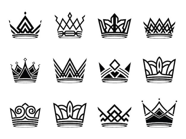 Coleção de logotipo de símbolos de silhueta moderna coroa defina vetor