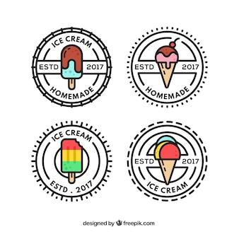 Coleção de logotipo de sorvete vintage