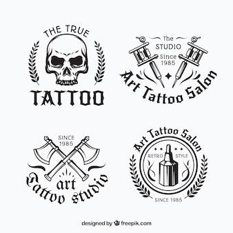 Coleção de logotipo de tatuagem preto e branco
