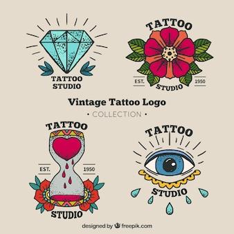 Coleção de logotipo de tatuagem vintage colorido