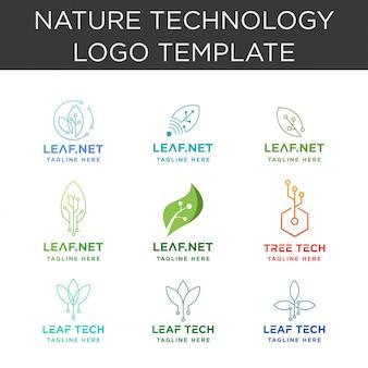 Coleção de logotipo de tecnologia de folha