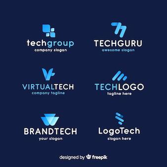 Coleção de logotipo de tecnologia de gradiente
