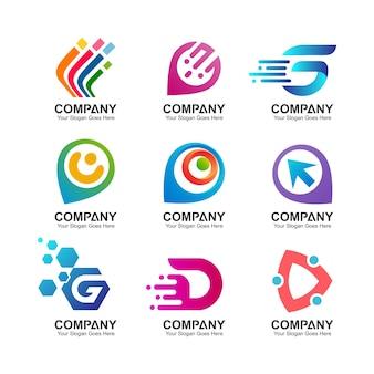 Coleção de logotipo de tecnologia digital abstrata