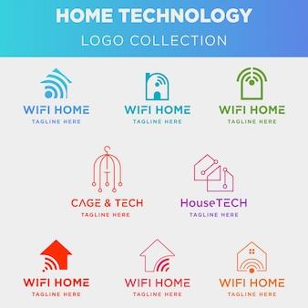 Coleção de logotipo de tecnologia em casa