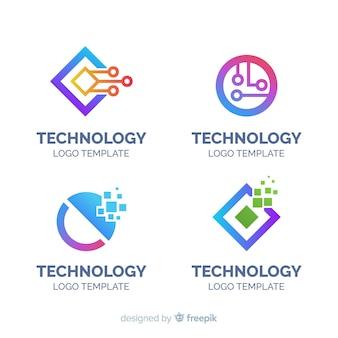 Coleção de logotipo de tecnologia plana