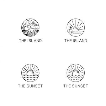 Coleção de logotipo de tema de verão