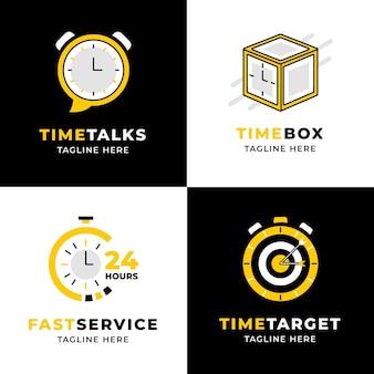 Coleção de logotipo de tempo de design plano