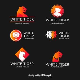 Coleção de logotipo de tigre branco