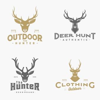 Coleção de logotipo de veado vintage