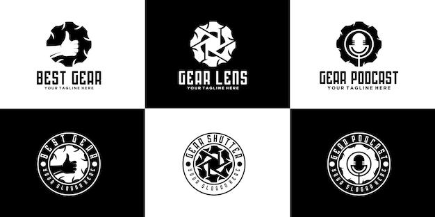 Coleção de logotipo de vetor de engrenagem criativa