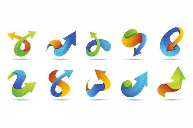 Coleção de logotipo de vetor de seta com estilo colorido