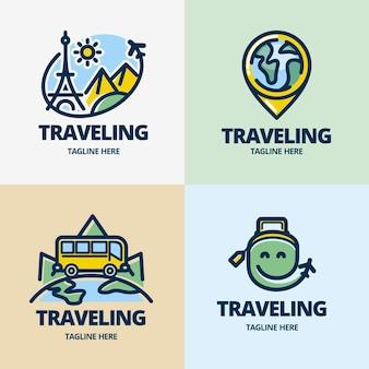 Coleção de logotipo de viagem