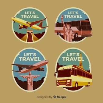 Coleção de logotipo de viagens vintage plana