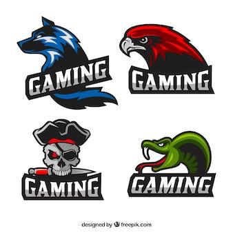 Coleção de logotipo de videogame com design plano