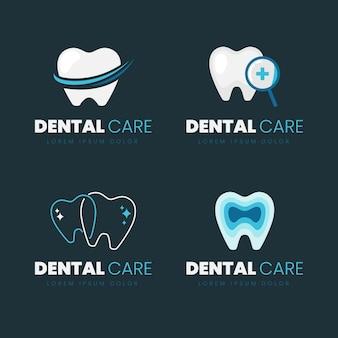 Coleção de logotipo dental de design plano