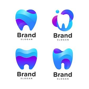 Coleção de logotipo dental gradiente