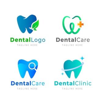 Coleção de logotipo dentário gradiente